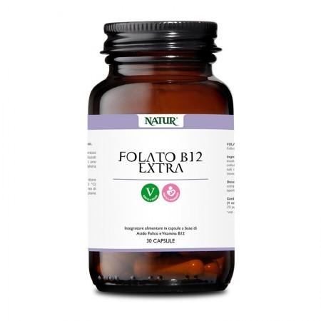 Natur Folato B 12 extra 30 capsule vegetali Integratore alimentare