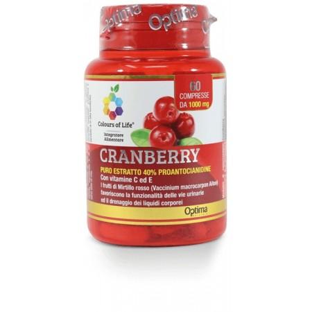 Cranberry con vitamina C E 60 compresse Optima Naturals