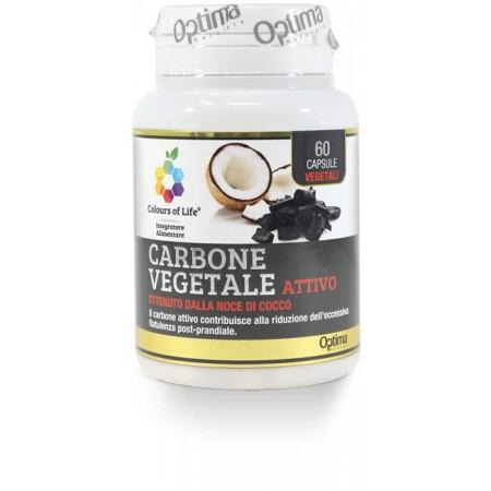 Carbone vegetale attivo 60 capsule Optima Naturals