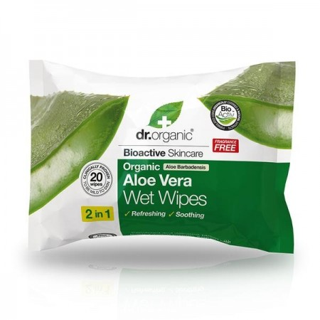 Salviettine umidificate multiuso Aloe Vera Wet Wipes 20 pz Dr. Organic